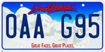 SD license plate 0AAG95