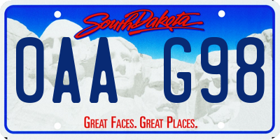 SD license plate 0AAG98