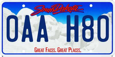 SD license plate 0AAH80