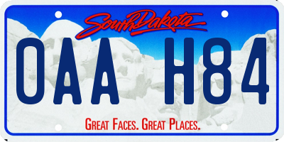 SD license plate 0AAH84