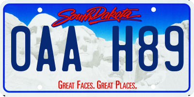 SD license plate 0AAH89