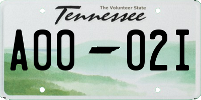 TN license plate A0002I