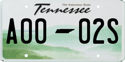 TN license plate A0002S