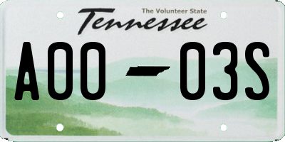 TN license plate A0003S