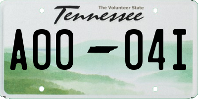 TN license plate A0004I