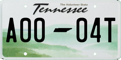 TN license plate A0004T