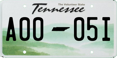 TN license plate A0005I
