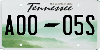 TN license plate A0005S