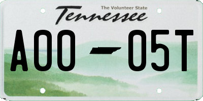 TN license plate A0005T