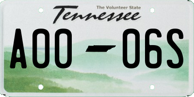 TN license plate A0006S