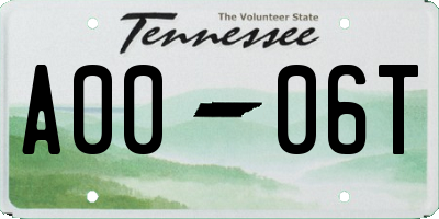 TN license plate A0006T