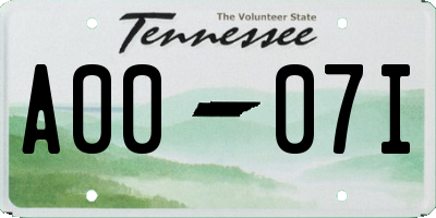 TN license plate A0007I