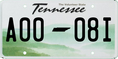 TN license plate A0008I