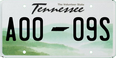 TN license plate A0009S