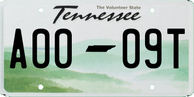 TN license plate A0009T