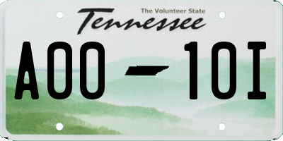 TN license plate A0010I