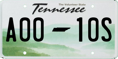 TN license plate A0010S