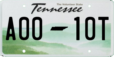 TN license plate A0010T