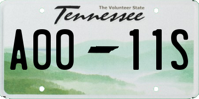 TN license plate A0011S