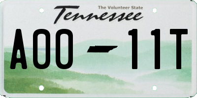 TN license plate A0011T