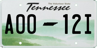 TN license plate A0012I