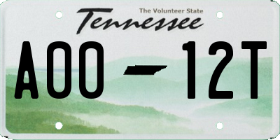 TN license plate A0012T