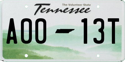 TN license plate A0013T
