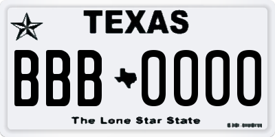 TX license plate BBB0000