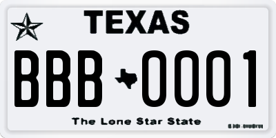 TX license plate BBB0001