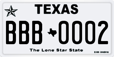 TX license plate BBB0002