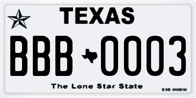 TX license plate BBB0003