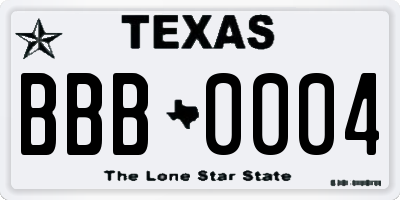 TX license plate BBB0004