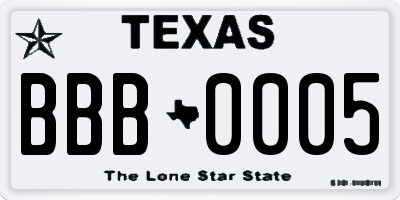 TX license plate BBB0005