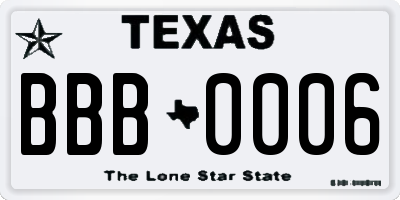 TX license plate BBB0006