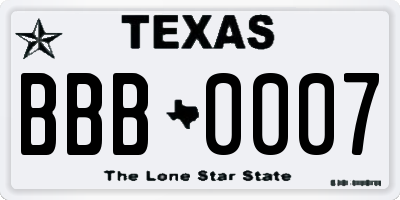 TX license plate BBB0007