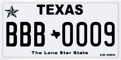 TX license plate BBB0009