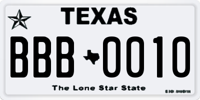 TX license plate BBB0010