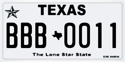 TX license plate BBB0011