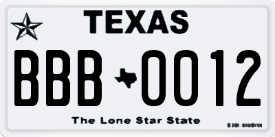 TX license plate BBB0012