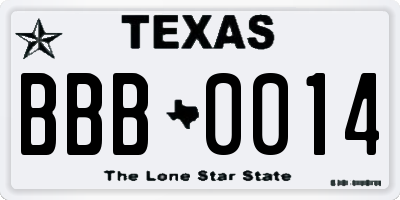 TX license plate BBB0014