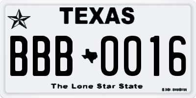 TX license plate BBB0016