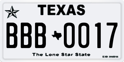 TX license plate BBB0017