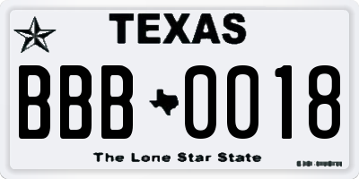 TX license plate BBB0018