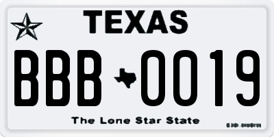 TX license plate BBB0019
