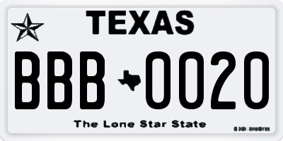 TX license plate BBB0020