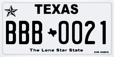 TX license plate BBB0021