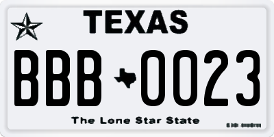 TX license plate BBB0023