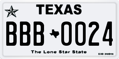 TX license plate BBB0024