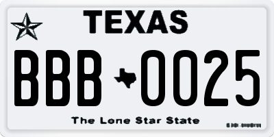 TX license plate BBB0025