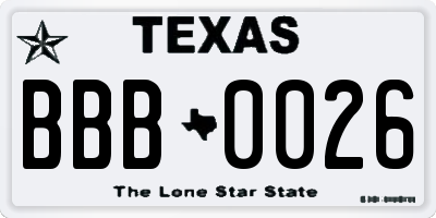 TX license plate BBB0026